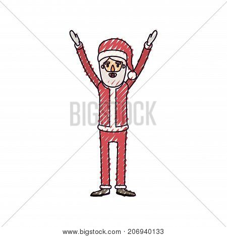 santa claus caricature full body with hands up hat and costume on color crayon silhouette on white background vector illustration