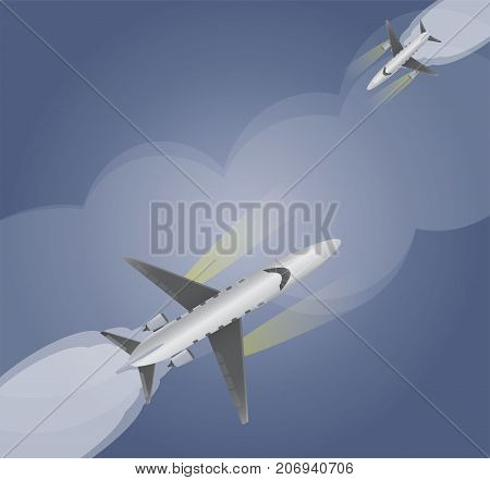 Top View  Of Small Private  Jet Airplane Over Dark Blue Sky