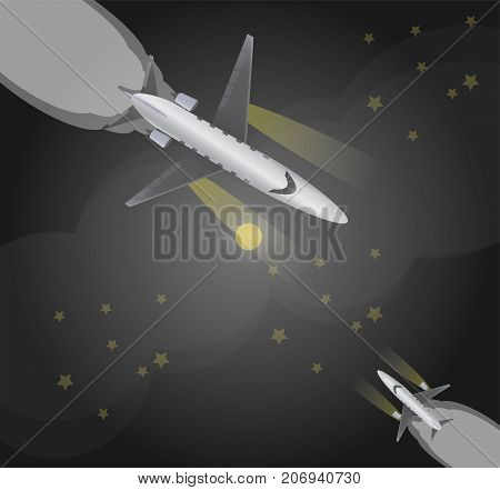 Top View  Of Small Private  Jet Airplane Over Night Sky