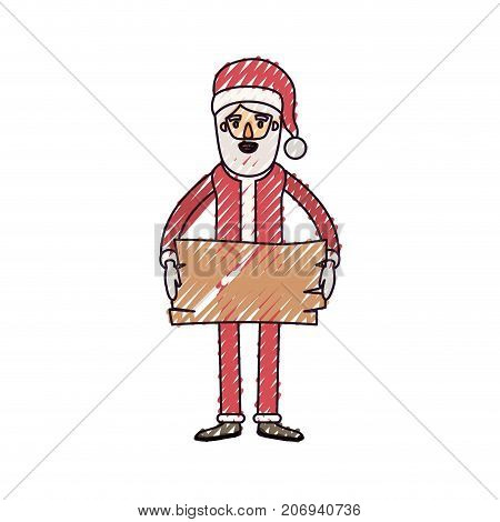 santa claus caricature full body holding a wooden piece with hat and costume on color crayon silhouette on white background vector illustration
