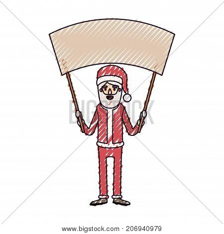 santa claus caricature full body holding a empty poster advertising with hat and costume on color crayon silhouette on white background vector illustration