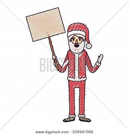 santa claus caricature full body holding a poster with pole with hat and costume on color crayon silhouette on white background vector illustration