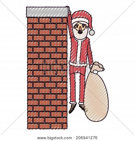 santa claus caricature full body hanging of chimney brick fireplace and holding a gift bag with hat and costume on color crayon silhouette on white background vector illustration