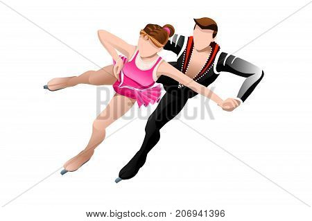 Figure skating couple with skaters mixed athletes winter sport vector 3D isometric icon.