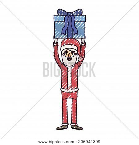 santa claus caricature full body holding up a gift with hat and costume on color crayon silhouette on white background vector illustration