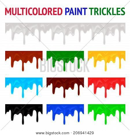Multicolored paint trickles. White, red, green, yellow, blue, brown and black color flowing down paint. Seamless horizontal element vector illustration.