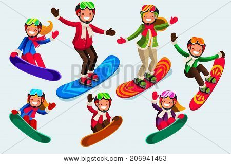 Snowboard jump isolated icons. Winter sports at kids holiday. Parents and children skiing in snow landscape. Vector illustration in a flat style of family set.