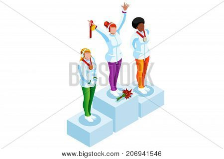 Winner podium with winter sport woman athlete. Vector 3D isometric icon.