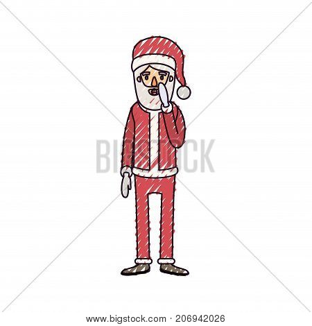 santa claus caricature full body with surprised expression hat and costume on color crayon silhouette on white background vector illustration