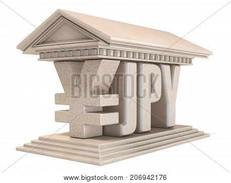 Japanese Yen Jpy Currency Sign Temple 3D