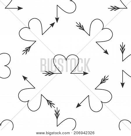 Cupid arrow heart, Valentines Day cards element icon seamless pattern on white background. Flat design. Vector Illustration
