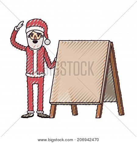 santa claus caricature full body with a placard and hat with christmas costume on color crayon silhouette on white background vector illustration