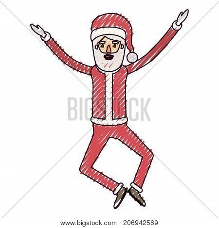 santa claus caricature full body jumping with hat and christmas costume on color crayon silhouette on white background vector illustration