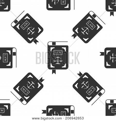 Law book statute book with scales of justice icon seamless pattern on white background. Flat design. Vector Illustration