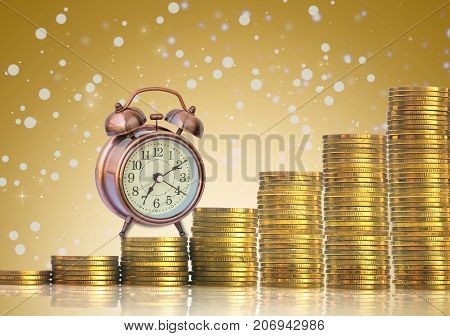 stacks of gold coins step with the vintage clock on Abstract photo of chrismas background investment and financial concept, 3D illustration