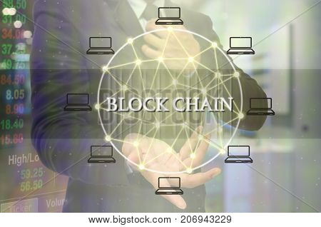 Block chain Text and Distributed computer network with Hand of businessman holding the icon over trading data with store blur background Distributed ledger technology and block chain concept, 3D illustration
