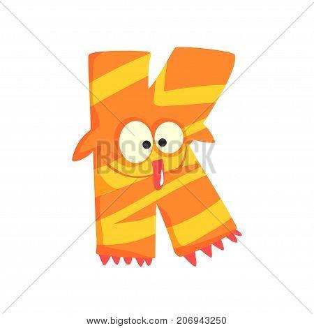 Illustration of character orange striped monster letter K. Funny education. Strange animal font. Cartoon monster alphabet for kids. Happy children s print or poster design. Vector isolated on white