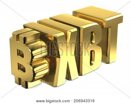 Bitcoin Xbt Golden Currency Sign 3D