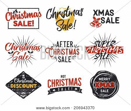 Christmas sale lettering and typography elements set. Holiday Online shopping type quotes collection. Stock vector illustration isolated on white background.