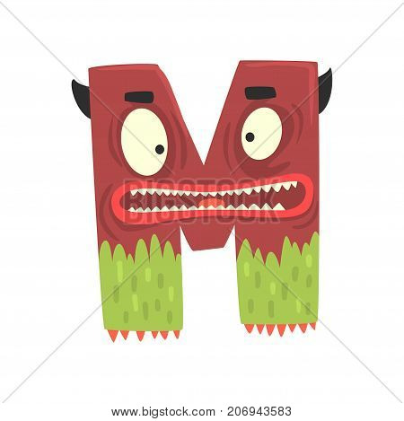 Illustration of character scary terrible monster letter M. Funny education. Strange animal font. Cartoon monster alphabet for kids. Great children s print or poster design. Vector isolated on white