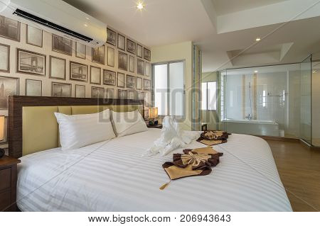 BANGKOK THAILAND - SEP 25 : The junior Pool Access room type of the Suvarnabhumi ville Hotel which include bathroom. is located near Suvarnabhumi airport. on September 25 2016 in Bangkok Thailand