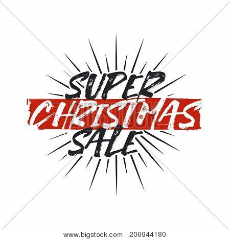 Super Christmas sale lettering and typography elements. Holiday Online shopping type quote. Stock vector illustration isolated on white background.