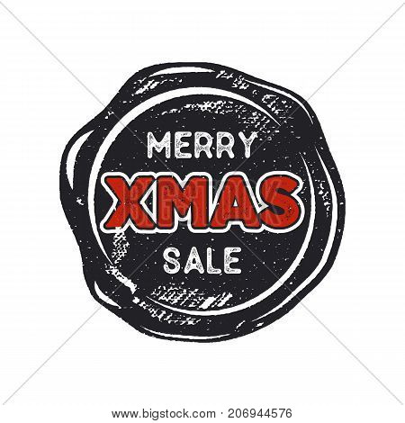 Merry Christmas sale lettering and typography elements. Holiday Online shopping type quote on handcrafted wax seal template. Stock vector illustration isolated on white background.