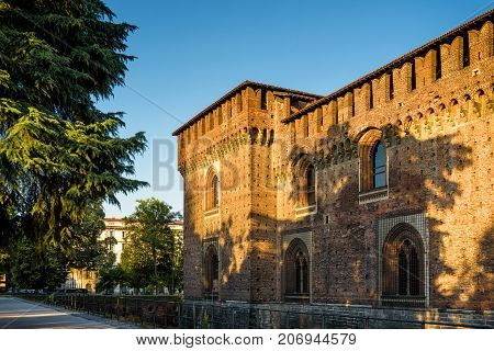 Sforza Castel (Castello Sforzesco) in Milan, Italy. This castle was built in the 15th century by Francesco Sforza Duke of Milan.