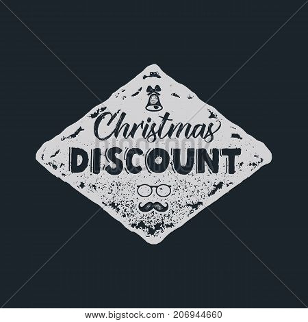 Christmas discount lettering and typography elements. Holiday Online shopping type quote. Stock vector illustration isolated on dark background.