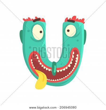 Illustration of character silly smiling monster letter U for funny education. Strange animal font. Cartoon monster alphabet for kids. Great children s print or poster design. Vector isolated on white