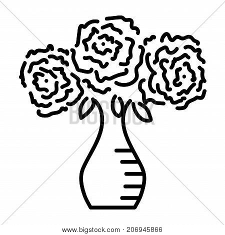 Three roses in vase sign. Image of floral. Monochrome icon isolated on white background. Bloom flower symbol. Logo for romantic. Florist content. Mark of blossom. Stock vector illustration