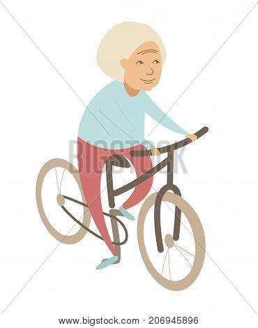 Old Woman Senior Grandmother Lady Riding A Bicycle . Flat Style