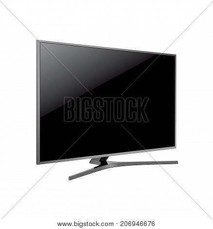 Black LED tv television screen blank on white background