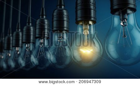 Unique, uniqueness, new idea concept - Glowing electric bulb lamp in a row of lamps. 3d rendering