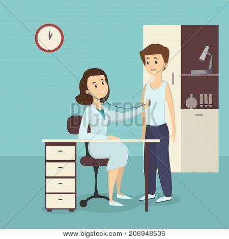Medical admission illustration. Man in the hospital ward with female doctor.