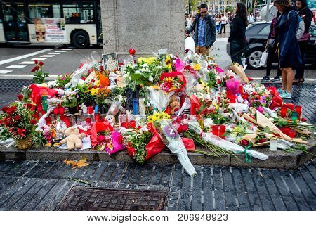 Barcelona, Spain - September 9, 2017:the Place of laying flowers in memory of terror attack on 18 August 2017.