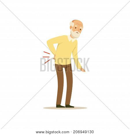 The image shows an aged person who is experiencing pain in the back. He is struggling and has put a hand on the back to ease the pain.