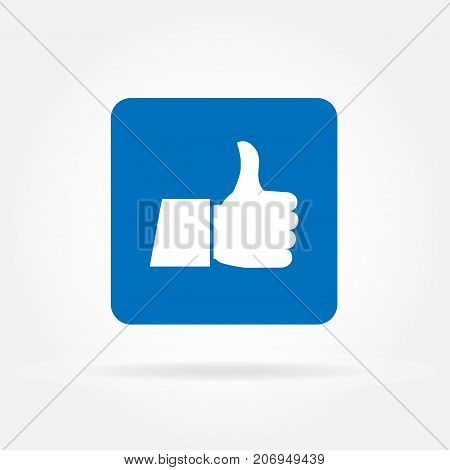 Thumb up flat icon. Vector illustration of blue thumb up sign.