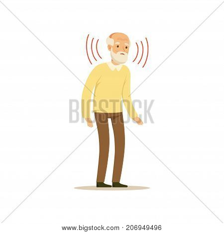 The image depicts an old man who is listening with intent. He has a white beard and is dressed in a yellow sweater and brown trousers.