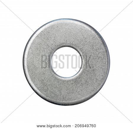 steel washer isolated on white background top view closeup