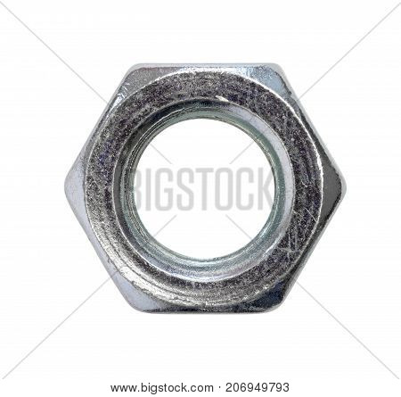 steel nut isolated on white background top view closeup