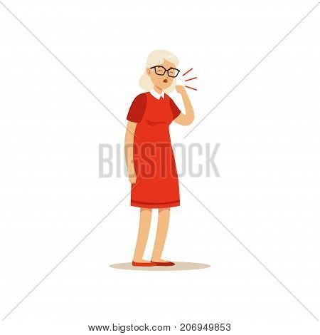 The image shows aged woman, who is coughing. She is grey-haired and is wearing a red dress. She also has glasses on.