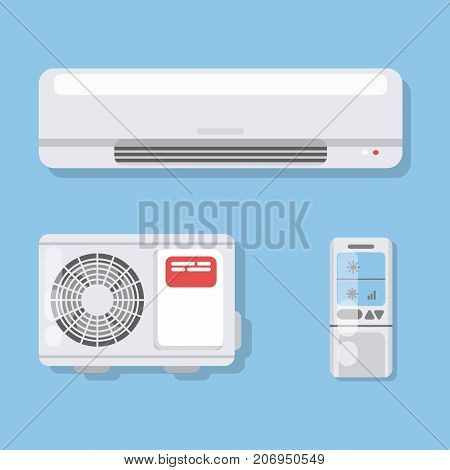 Air conditioner set. Fan and remote control with ventilation.