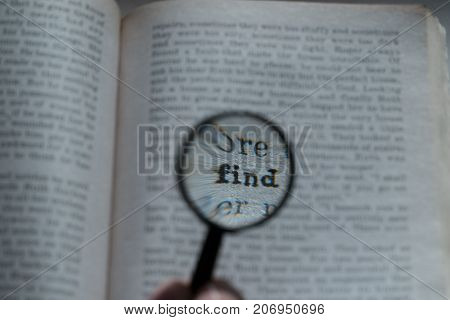 View Through Loupe At Book. Word - Find