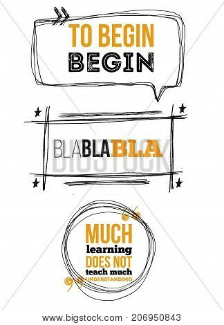 Set of sketch note bubbles for citates on white background with quotes. Templates quote with text for statements or comments