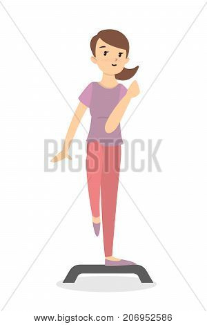 Fitness with stepper. Girl doing exercises on white background.