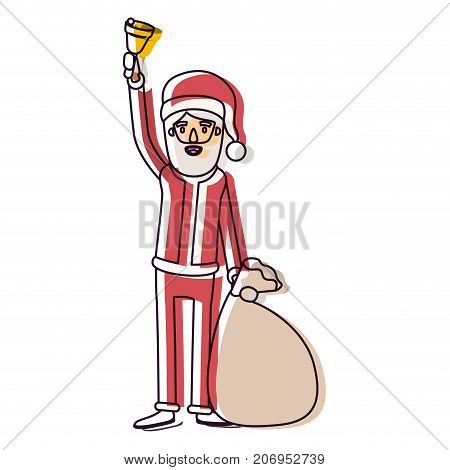 santa claus caricature full body holding a hand bell and gift bag with hat and costume watercolor silhouette on white background vector illustration