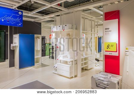 NETHERLANDS - DELFT - SEPTEMBER 16 2017: Interior of the Ikea store in Delft in The Netherlands. With cabinets and storage racks.