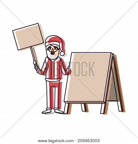 santa claus caricature full body holding a wooden poster and empty advertising with hat and costume watercolor silhouette on white background vector illustration