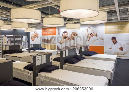NETHERLANDS - DELFT - SEPTEMBER 16 2017: Interior of the Ikea store in Delft in The Netherlands. Showing the department beds.